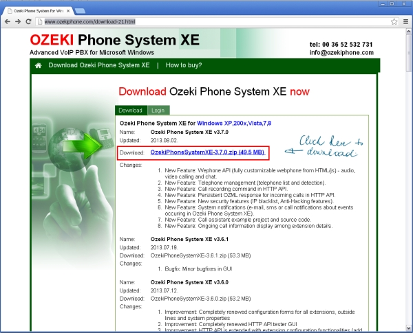 downloading ozeki phone system