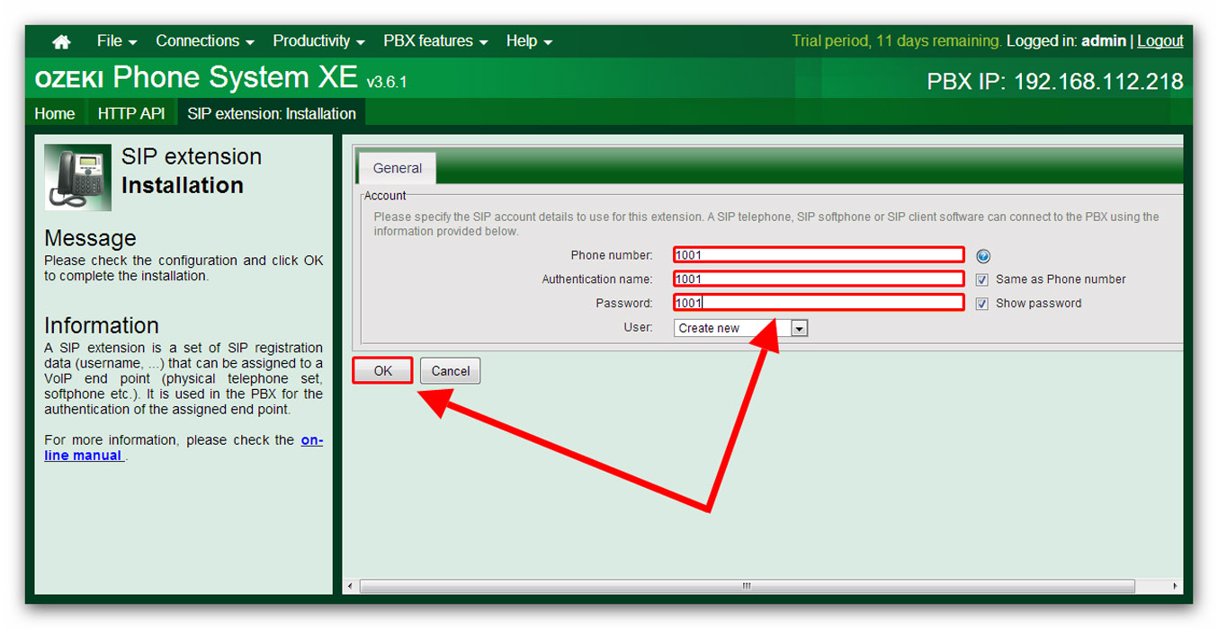 Ozeki VoIP PBX - How to install SIP Extension